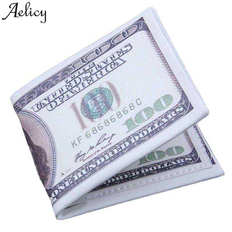 De moda Aelicy nuestro billete de dólar cartera blanco Cartera de cuero Tarjeta de Crédito foto carteras de cuero 2020 de los hombres de carteras 100 $ titular de la moneda