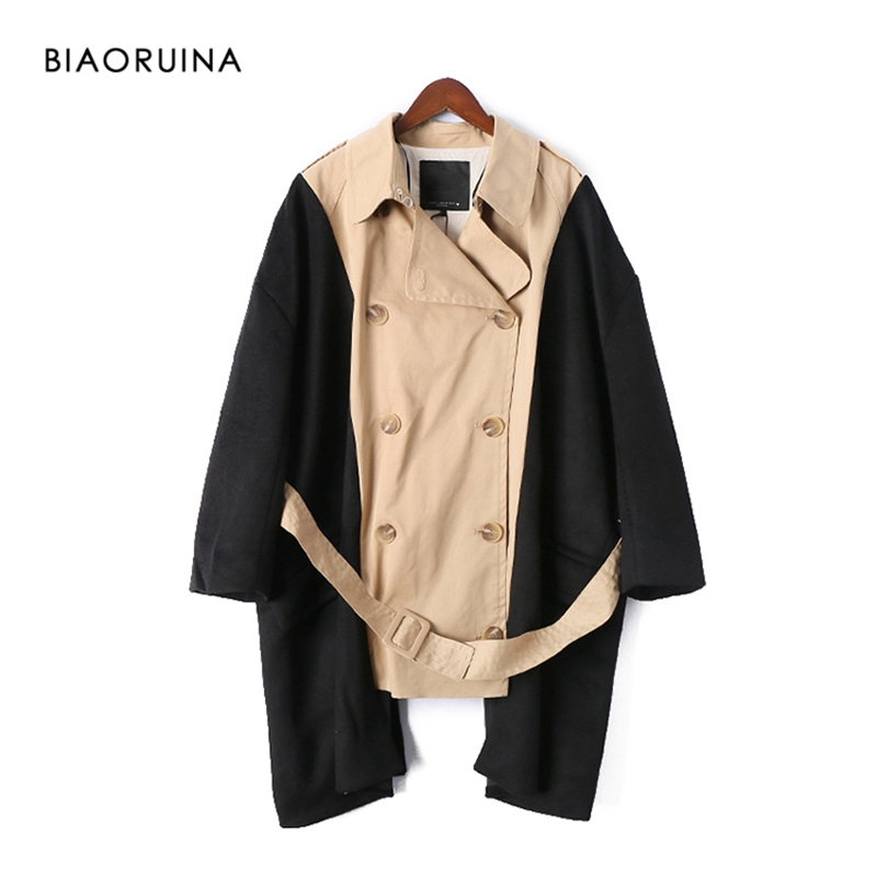 BIAORUINA Women's Safari Style Khaki Patchwork Black Heavy Fabric   Trench   Female Double Breasted Fashion Oversized Long Coat