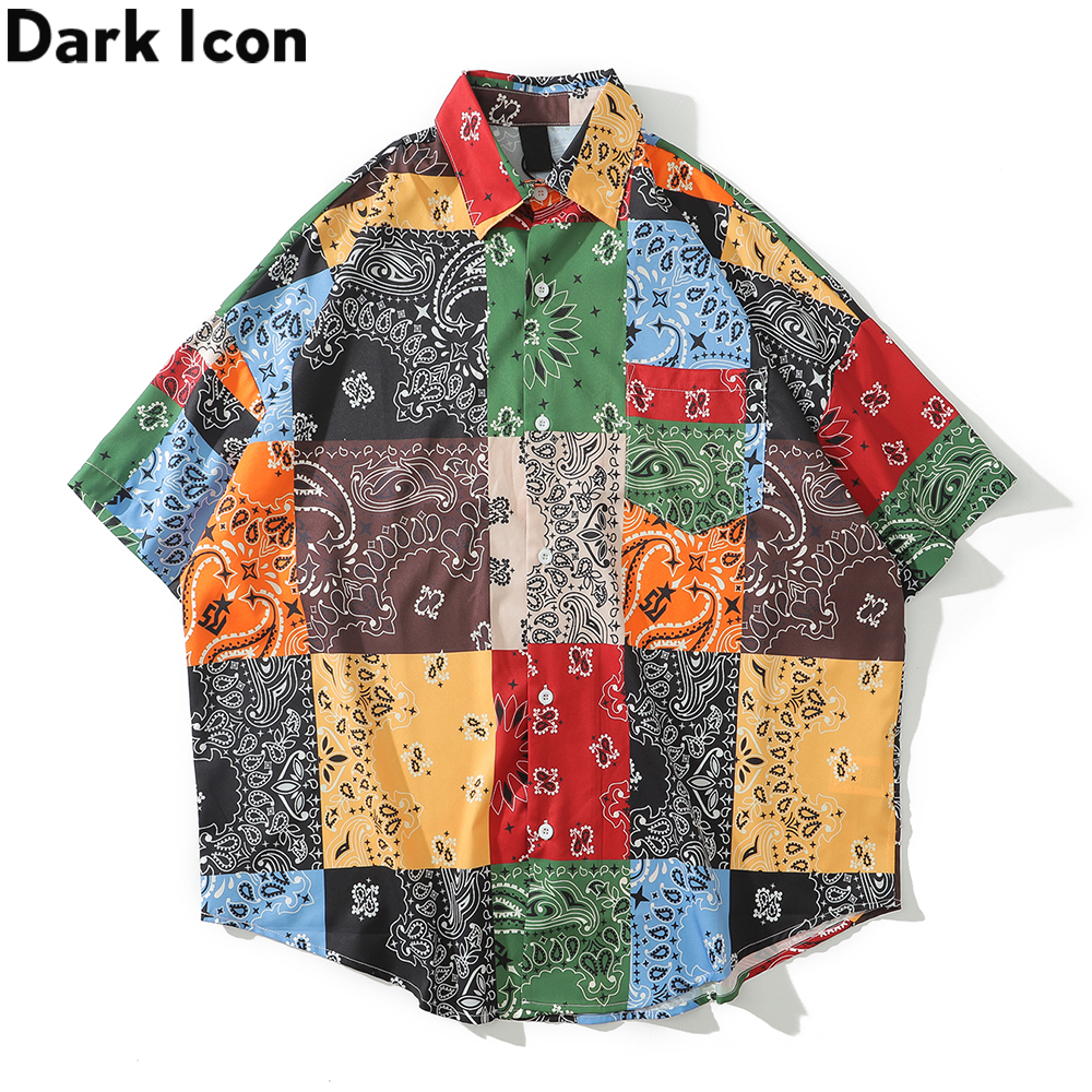 Dark Icon Patchwork Bandana Street Shirts Men Summer Oversized Men's Shirts Hip Hop Shirts