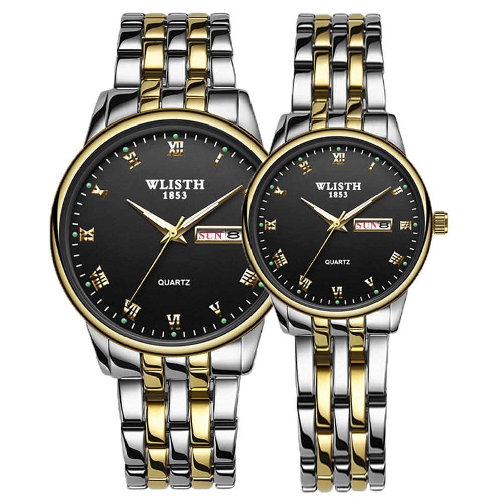 Negócio de Luxo Relógio de Quartzo para Homens e Mulheres Qualidade à Prova Casal Assistir Novo Hora Alta Dwaterproof Água Calendário Amantes Relógios 2020 Par Mod. 128481