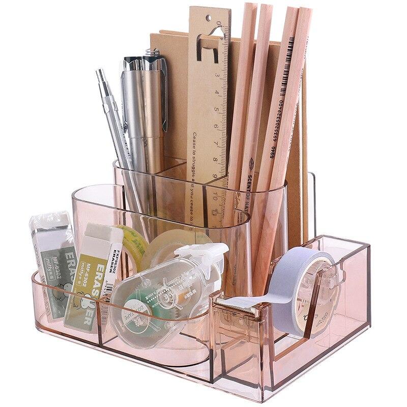 1 Pcs Desk Transparent  Storage Rack Office Shelves Desktop Pen Holder Supplies Storage Box Division Stationery Organizing Box