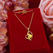 Fashion 24K Gold Pendant Necklaces For Women Wedding Engagement Jewelry Heart Apple Shape Yellow Gold Chain Necklace Choker real 24k yellow gold pendant women 999 gold 3d heart pendant