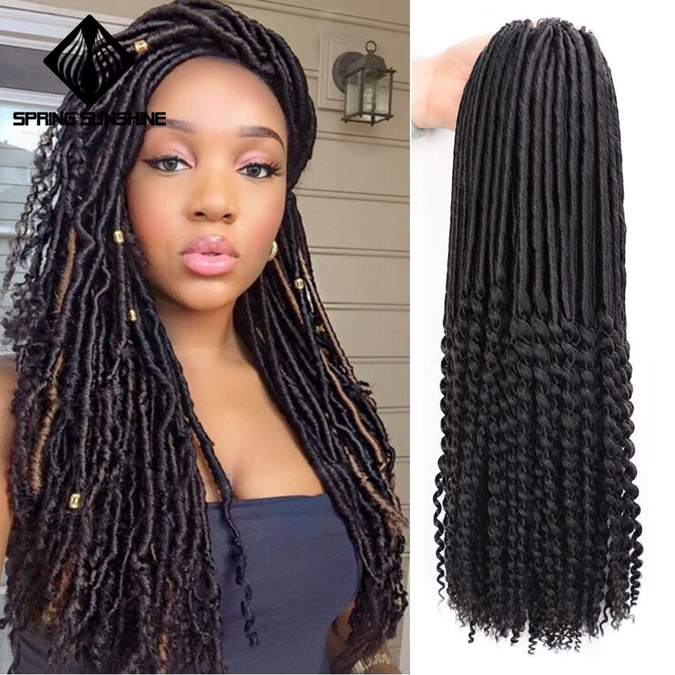Spring Sunshine 18inch Mambo Faux Locs Curly Crochet Braid Hair Bohemian Black Braiding Hair Synthetic Braids Hair Extensions