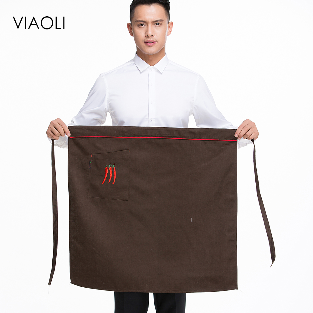 Kitchen Cooking Apron Work Dining Half-length Long Waist Apron Catering Chefs Hotel Waiter Uniform Essential Supplies Embroidery