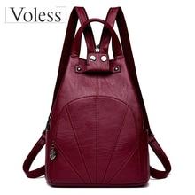 Vintage Women Backpacks 2019 New Women Retro PU Leather Backpack Big Capacity School Bag for Teenager Girl Travel Bolsa Feminina