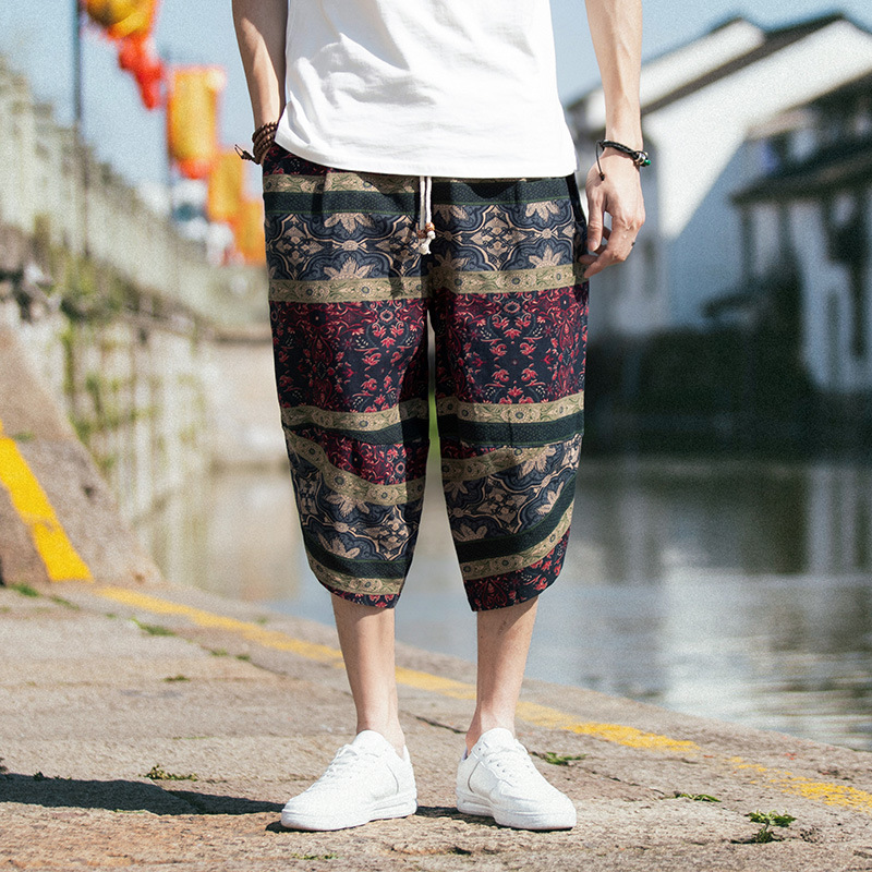2019 Summer Ethnic-Style Cotton Linen Capri Shorts Men's Fashion Casual Baggy Pants Retro Loose And Plus-sized Printed Men's Tro