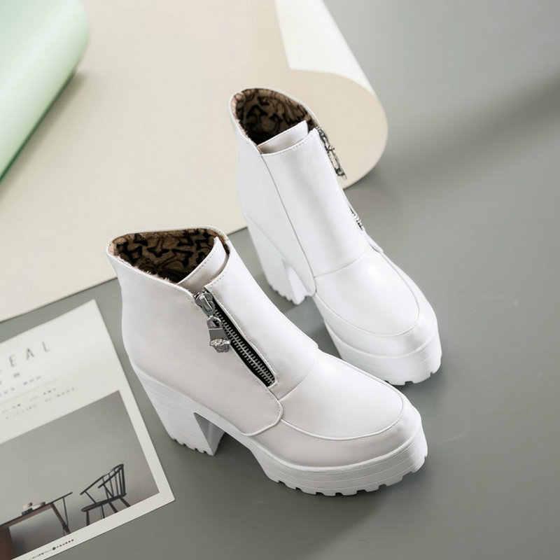 Lloprost ke Schwarz Weiß Plattform Stiefeletten für Frauen High Heels Stiefel Damen Zip Herbst Winter Booties Frau Stiefel Schuhe 2019