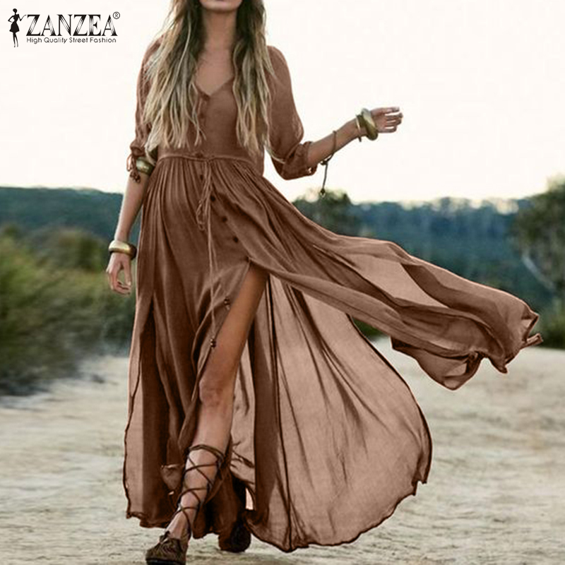 Elegant Women's V Neck Sundress ZANZEA 2020 Plus Size Shirt Dress Half Sleeve Summer Maxi Vestidos Female High Split Robe 5XL image
