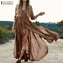 Elegant Women's V Neck Sundress ZANZEA 2020 Plus Size