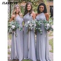 Hot sale One Shoulder Bridesmaid Dresses Chiffon Simple Bridesmaid Dress Sleeveless Floor length Dress for Wedding Party