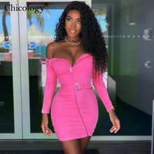Chicology Off Schouder Riem Rits Knop Jurk Lange Mouw Bodycon 2019 Herfst Winter Vrouwen Sexy Party Casual Lady Kleding(China)