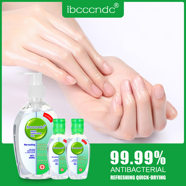 200ml+2pcs 50ml Anti Bacterial Waterless Hand Sanitizer Hand Disinfection Gel No-clean Quick-Dry Disposable Handgel 75% Ethanol 2