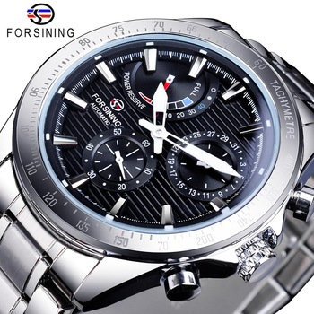 цена Forsining Power Reserve Design Men Automatic Mechanical Watch Black Silver Stainless Steel Date Waterproof Watch Luminous Clock онлайн в 2017 году