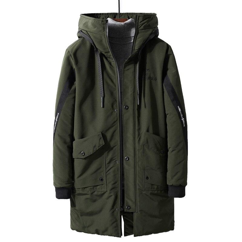 ICPANS Warm Winter Jacket Men Parkas Hooded Thicken Loose Army Khaki Long Snow Coats Male Plus Size XXXL 4XL Manteau Homme