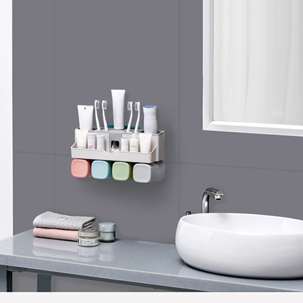 Newly Large Capacity Toothbrush Holder Wall Mount Storage Rack with Automatic Toothpaste Dispenser image