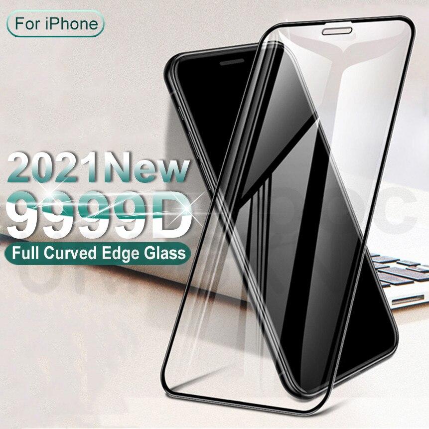 Изогнутое закаленное стекло 9999D с полным покрытием для iPhone 11 12 Pro XS Max X XR 12 Mini, Защита экрана для iphone 8 6 7 Plus, стекло SE 2020