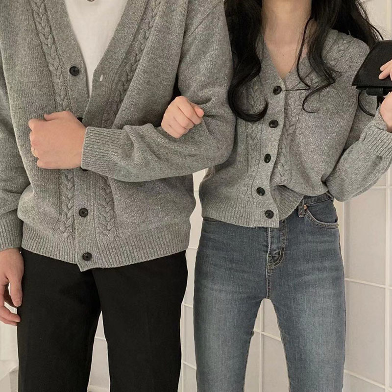 Hot Sale Long Sleeve Spring Autumn Lover Couple Wool Sweaters Korean Style Brand New Women Men Knitted Cardigan Sweater Fashion