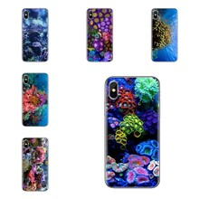 For iPhone XS Max XR X 4 4S 5 5S 5C SE 6 6S 7 8 Plus Samsung Galaxy J1 J3 J5 J7 A3 A5 TPU Case Pastel Coral Reef in the deep sea(China)