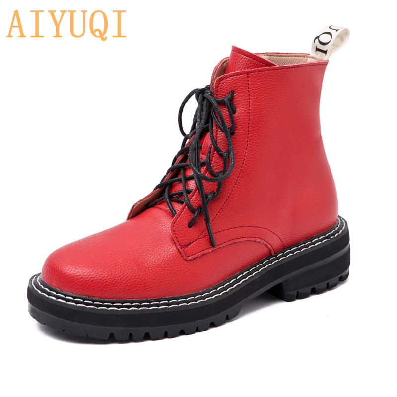 AIYUQI Boots Female women shoes Ankle 2020 Autumn British Wind Genuine Leather Thick With Short Boots Motorcycle Martin shoes 5