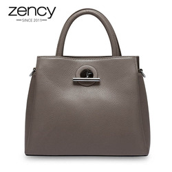 Zency Fashion Women Tote Bag 100% Genuine Leather Handbag Black Lady Crossbody Messenger Purse High Quality Shoulder Bags