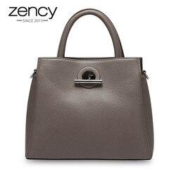 Zency Mode Frauen Tote Tasche 100% Echtem Leder Handtasche Schwarz Lady Crossbody-tasche Messenger Geldbörse Hohe Qualität Schulter Taschen