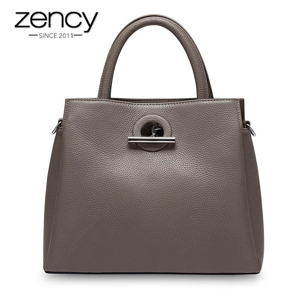 Zency mode femmes fourre-tout sac 100% en cuir véritable sac à main noir dame bandoulière Messenger sac à main de haute qualité sacs à bandoulière