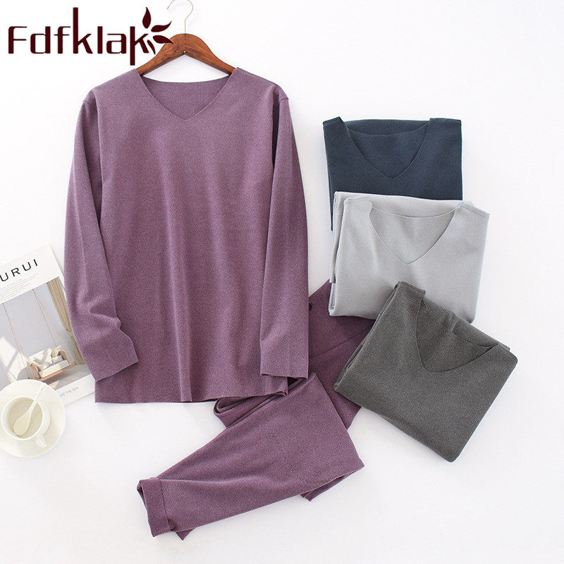 Fdfklak Sleeping Clothes For Men Pajama Spring Autumn Long Sleeve 2 Pieces Pyjama For Men Pijamas Plus Size L XL XXL 3XL