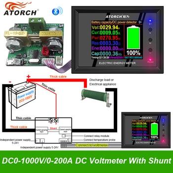 Shunt con pantalla Digital de 1000V/0 ~ 1000A DT24P, voltímetro, amperímetro, probador de capacidad de batería, medidor de capacidad 1