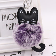 1pcs 8CM Fluffy Cute Cat Key Rings Pendant Women Key Ring Holder Pompoms Key Chains for Christmas Gift Hot Sale(China)