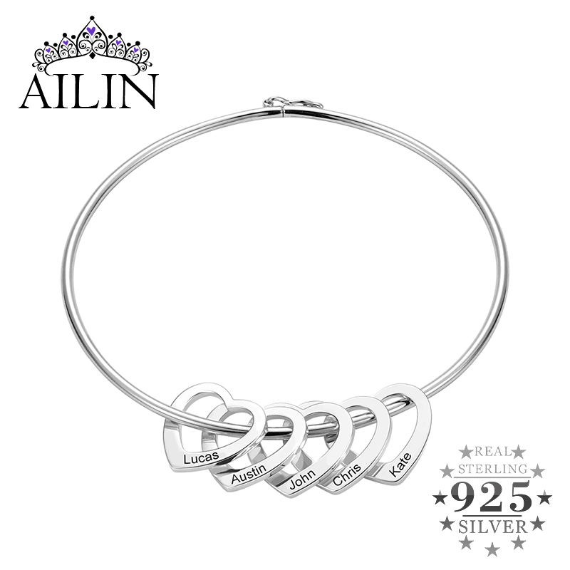 AILIN Personalized Name Bracelets Bangles For Women Jewelry Sterling Silver Custom Heart Pendant Nameplate Bracelet