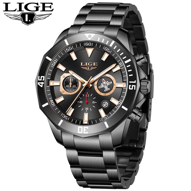 LIGE New Waterproof Men's Watches Top Brand Luxury Watch Men All Steel Big Dial Calendar Sport Wristwatch Male Chronograph+Box 2