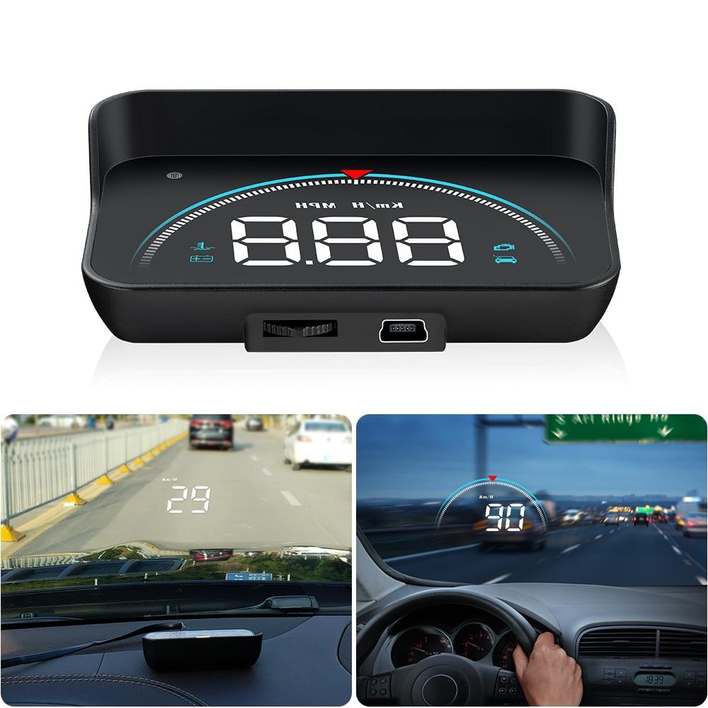 GEYIREN M8 coche HUD Head Up Display OBD2 II EUOBD sistema de advertencia de exceso de velocidad proyector parabrisas de voltaje electrónico de alarma