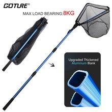 Goture dobrável pesca rede de aterragem 1.02m 1.65m 2.2m rede de borracha com vara de pesca telescópica