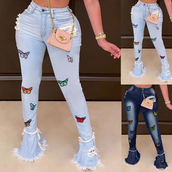Ladies Fashion Jeans Fringed Hole Classic Multicolor Butterfly Printed Pants Casual Loose Elastic Waist Female pantalon штаны 1