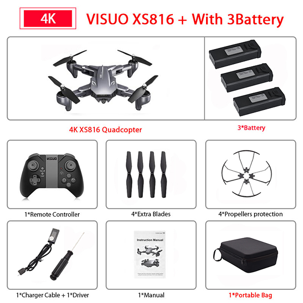 Visuo XS816 RC Drone with 50 Times Zoom WiFi FPV 4K Dual Camera Optical Flow Quadcopter Foldable Selfie Dron VS SG106 E58