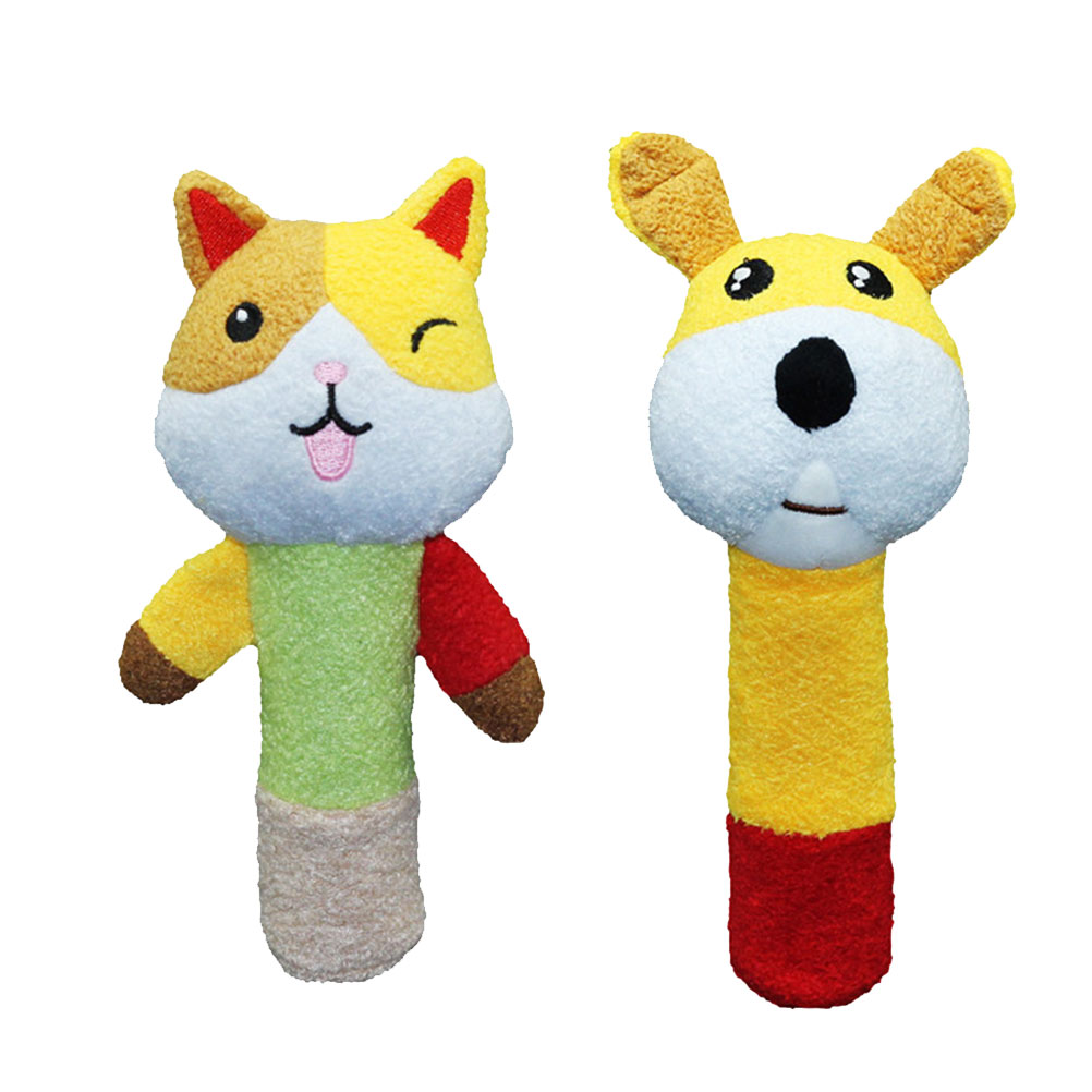 0-3T Baby Infant Rattle Cartoon Shake And Grasp Stuffed Animal Toys Squeaker Stick For Newborn Kids