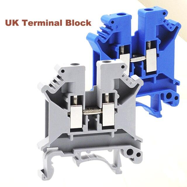 50pcs Din Rail Screw Terminal Block UK 2.5B 3/5/6/10N Bornier Electric Wire Cable Terminals Connector Copper Morsettiera 14~8AWG