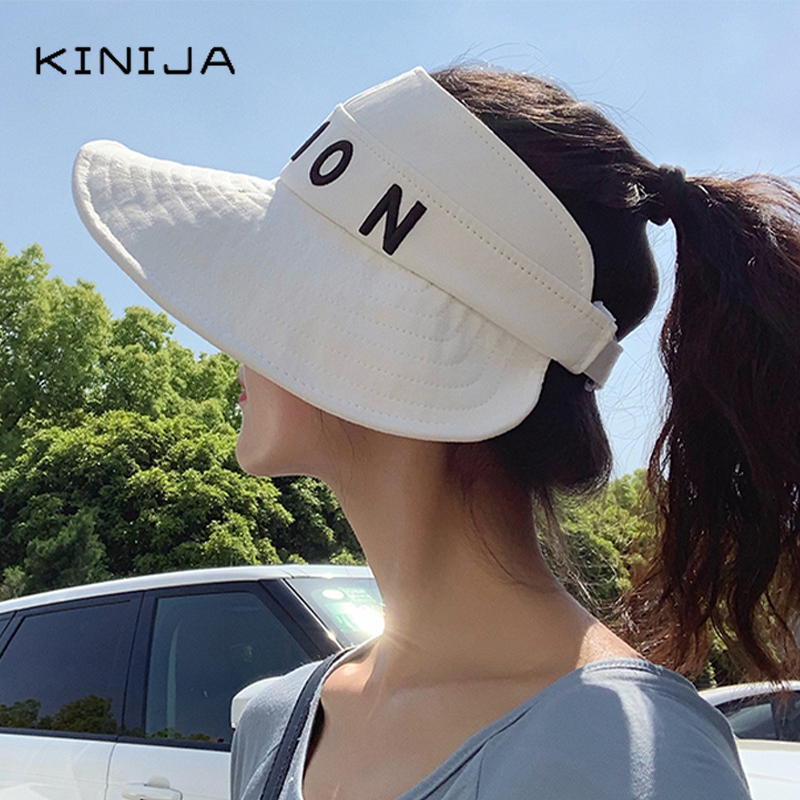 Summer Woman Sun Hat Korean Fashion Ride Folding Sun Protction Hats bucket hat Wide Brim Empty Top Folding Hats Beach Visor Hat