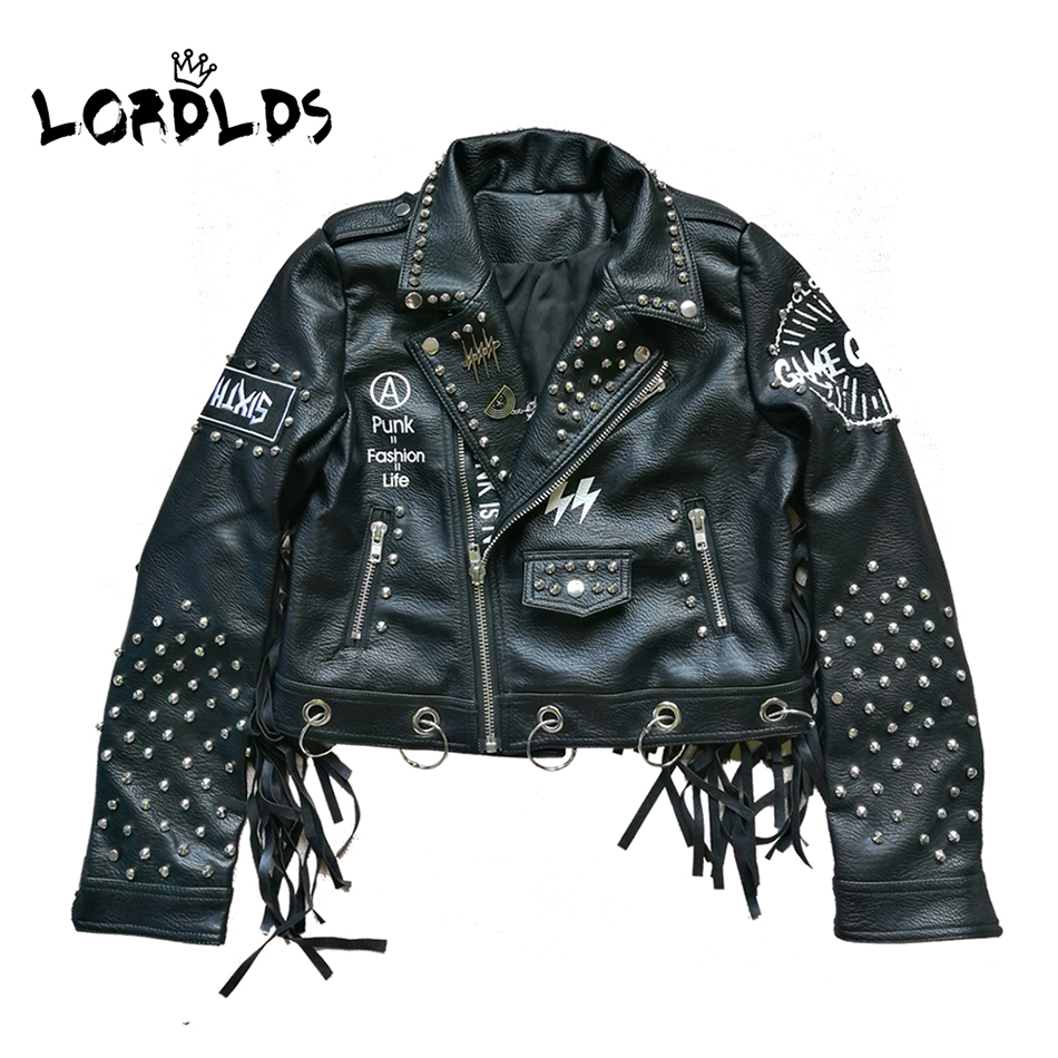 LORDLDS Women Black Leather Tassel Jacket 2019 Streetwear Zipper Rivet Fashionblogger Punk Jackets Woman Coats Outwear