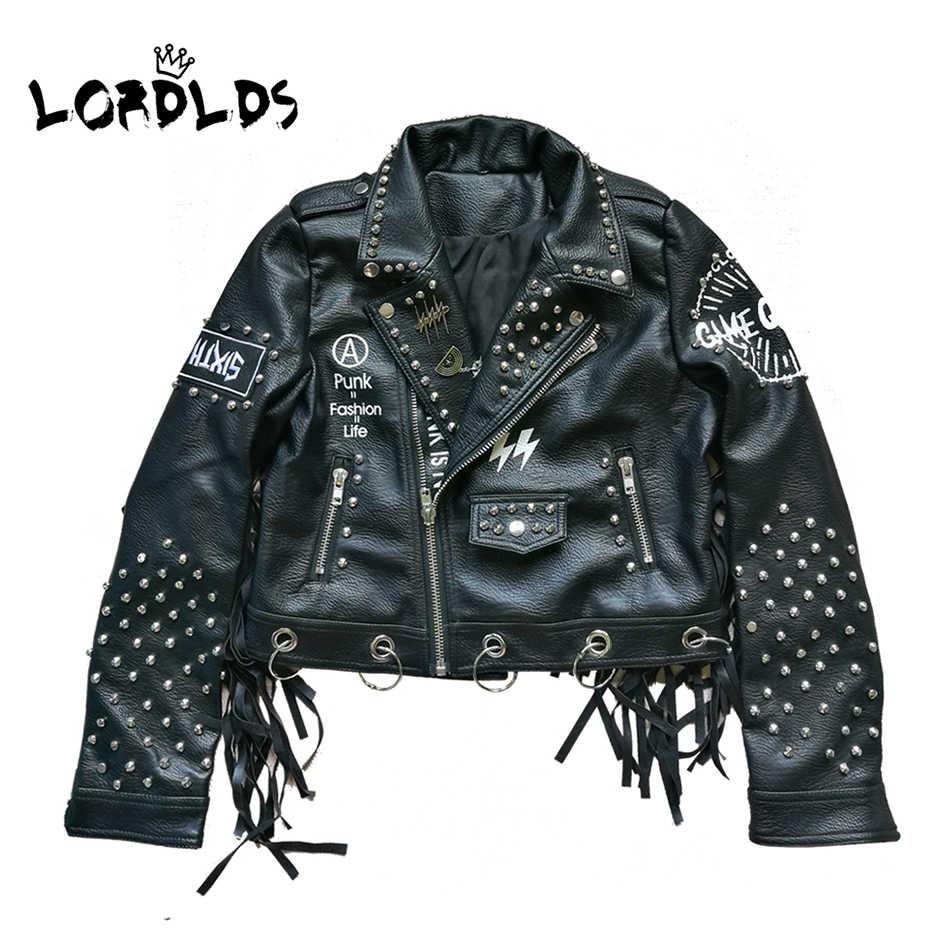 Lordlds Wanita Hitam Kulit Rumbai Jaket 2019 Streetwear Zipper Rivet Fashionblogger Punk Jaket Wanita Mantel