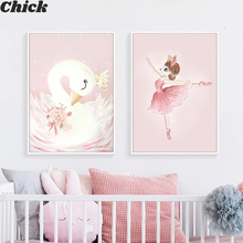 Canvas Painting Flower Wall-Pictures Horse-Swan Nordic Posters Pink Nursery Living-Room