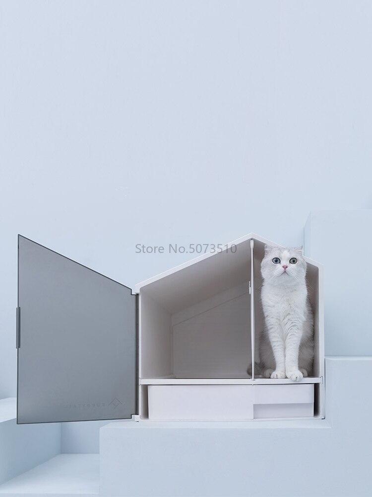 1 маленький домик для кошек, принадлежности для песочницы, полузакрытый кошачий Туалет, песочница, дезодорант, кошачий навоз, раковина - Цвет: Белый