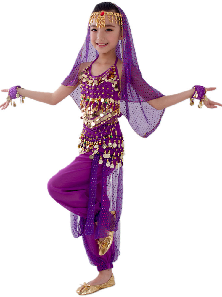 Belly-Dance-Costumes-Set Belly Dancing India Kids Child Girls 6-Colors