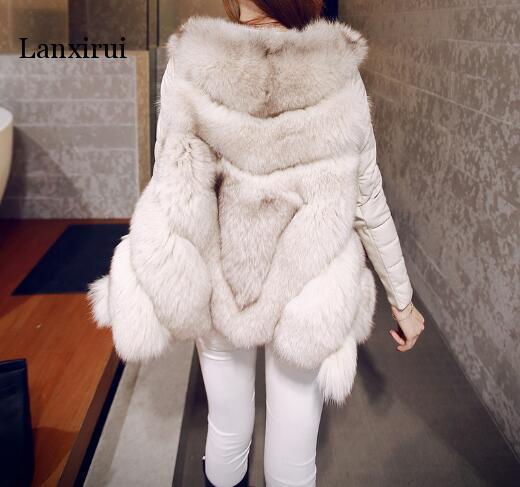 Femmes chaud fausse fourrure une veste d'hiver ajustée avec manteau à manches détachables expédition rapide - 2