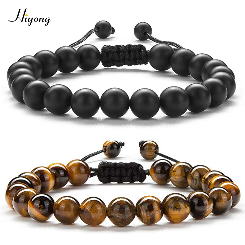 HIYONG 8mm Tiger Eye Stone Beads Bracelet Braided Rope Adjustable Black Matte Charm Healing Balance Beads Yoga Bracelet For Mens