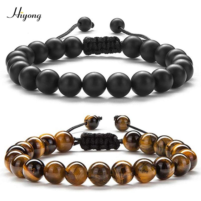 HIYONG 8mm Tiger Eye Stone Beads Bracelet Braided Rope Adjustable Black Matte Charm Healing Balance Beads Yoga Bracelet For Mens