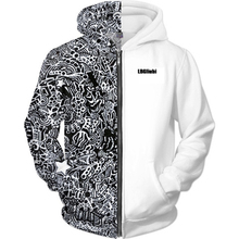 LBG new fashion black and white combination zipper hoodie 3D printing men women casual sportswear курткамужская XS-6