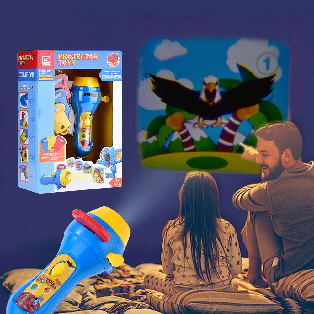 Mini Projector Torch Kids Flashlight Story Book Educational Light-up Toys Sleep Light Preschool Fairy Tale Projection Lamp Gift