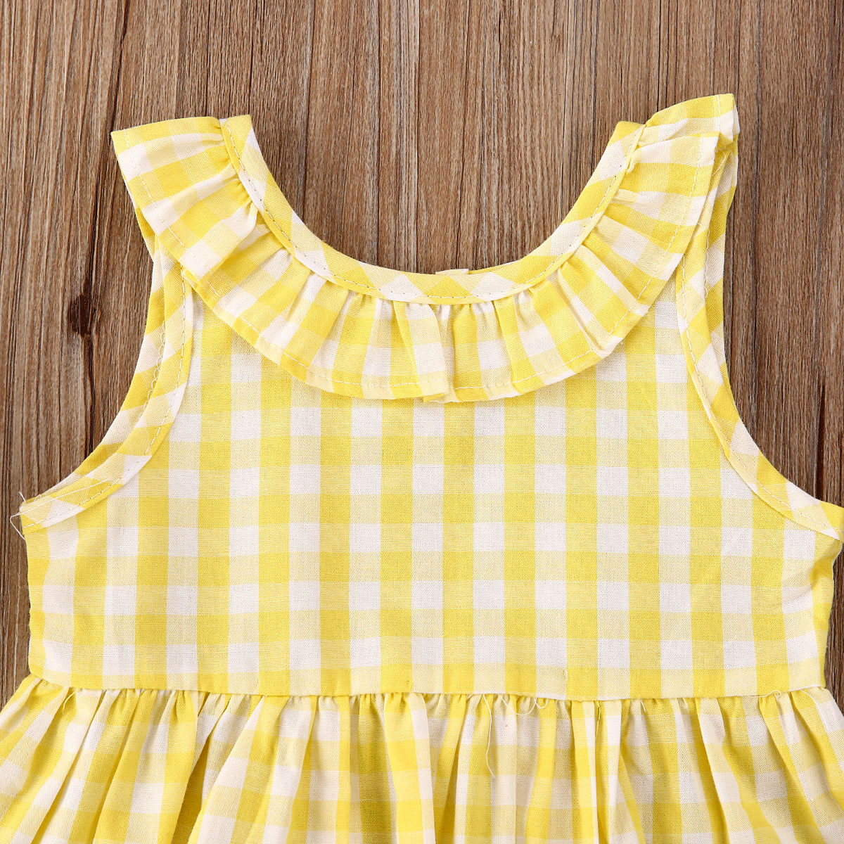 US New Toddler Baby Girl Kid Top Plaid Strap Skirt Outfit Dress Clothes Set 0-3Y
