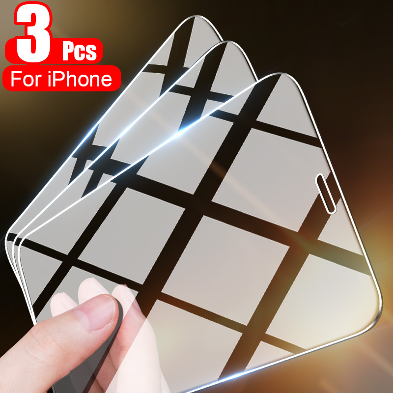 Защитное стекло, закаленное стекло для iPhone 11 12 Pro Max 12 Mini X XS Max XR 7 8 6 Plus, 3 шт.
